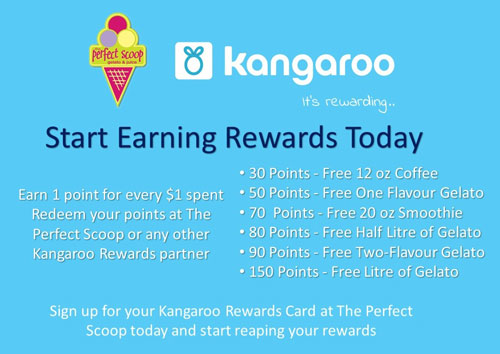 Sign up for The Perfect Scoop's Rewards Program in partnership with Kangaroo